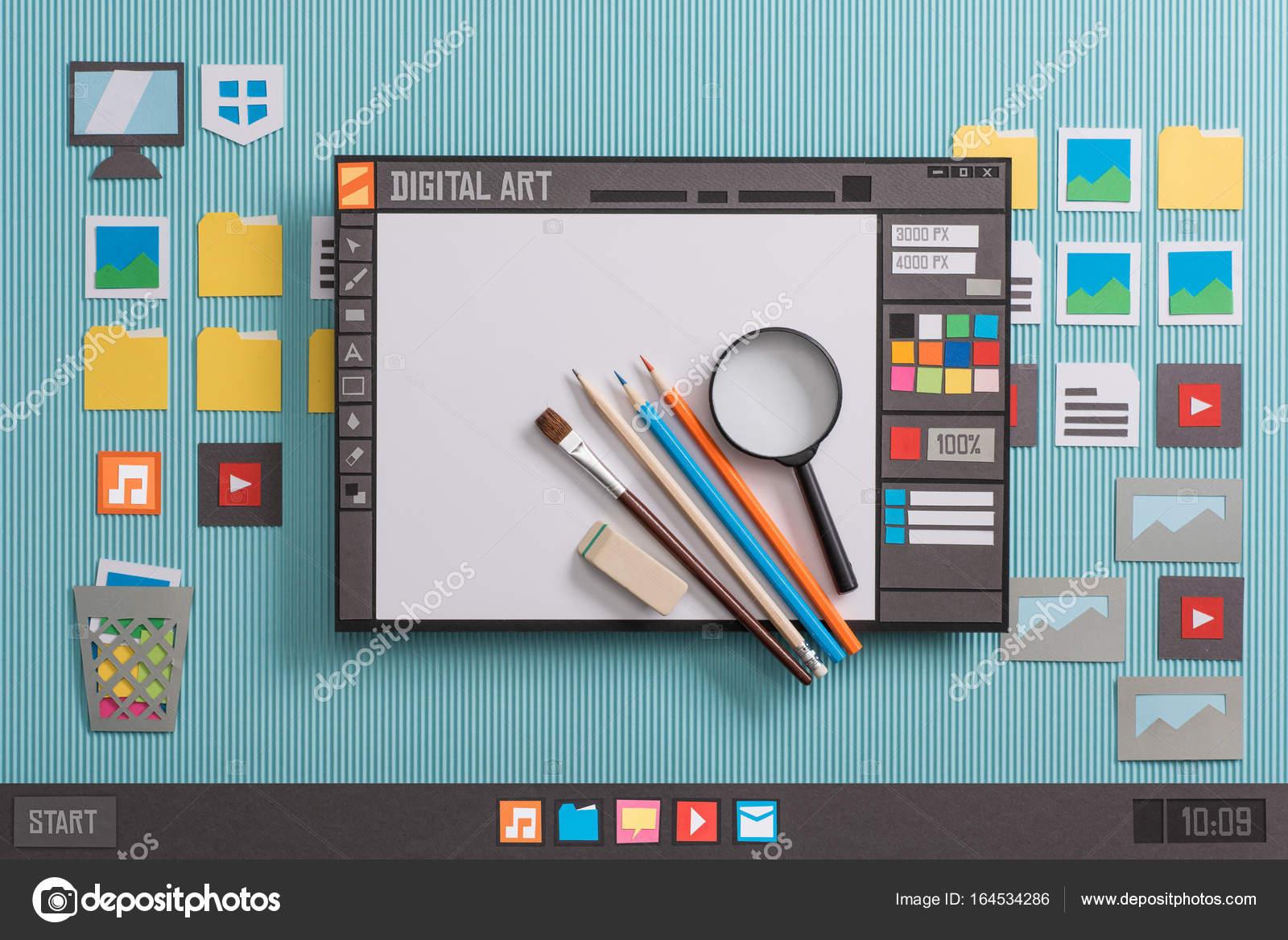 d0d280bdef08 Software de diseño gráfico con herramientas reales — Foto de Stock