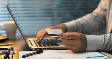 Businessman doing online banking