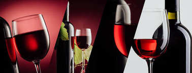 banner with red wine bottles