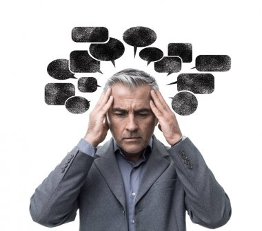 stressed man having negative thoughts