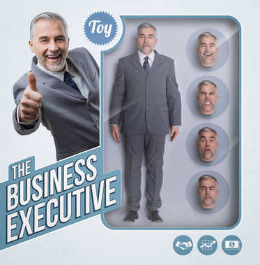 Business executive lifelike doll, see through toy packaging with smiling businessman and interchangeable heads with different expressions