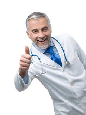Confident doctor giving thumb up