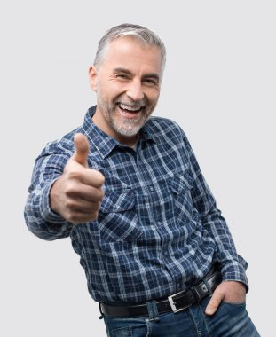 mature man giving thumb up