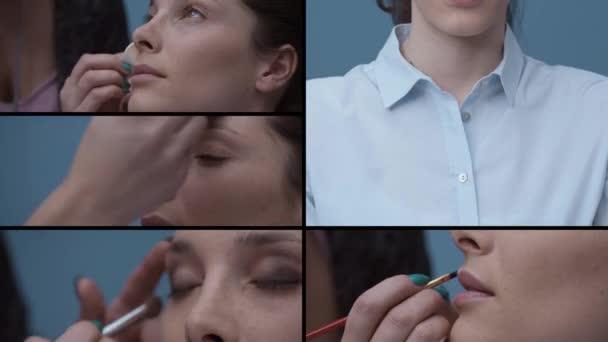 Profesionální maskér použitím make-upu na ženský obličej a konečný výsledek, krásy a kosmetiky koncepce, videomontáž