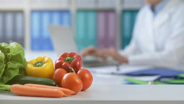 professional nutritionist working office she connecting typing laptop fresh healthy stock video