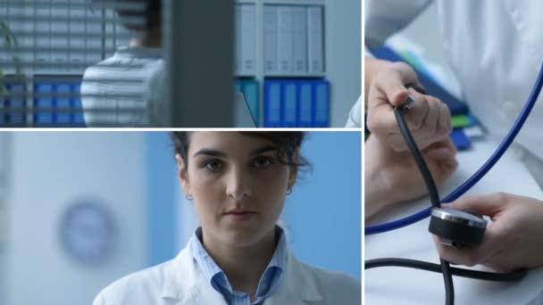 Női orvos dolgozik az irodában, látogatás a beteg, vérnyomásmérés, és egy apple mutatja: egészségügyi és az egészséges életmód fogalma