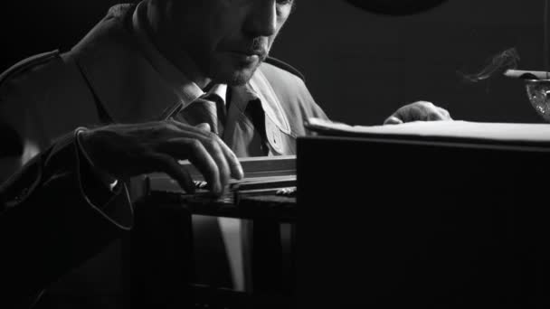 Noir film investigator searching top secret files office night retro