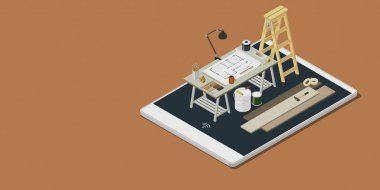 Home renovation and DIY app: architect desk with house project and isometric work equipment on a smartphone display, 3D illustration