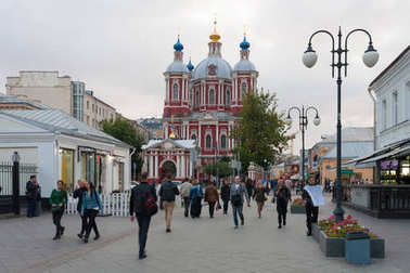 People and Cathedral at Clementovsky Street in Moscow 29.08.2017