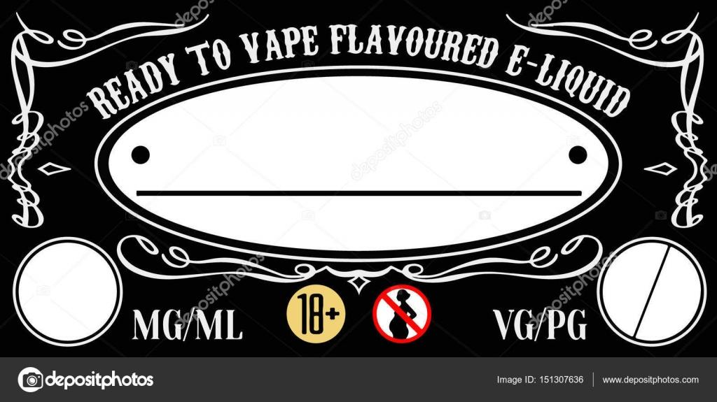 VAPE e-Liquid e-Saft Label Sticker-Vorlage für Flasche — Stockvektor ...