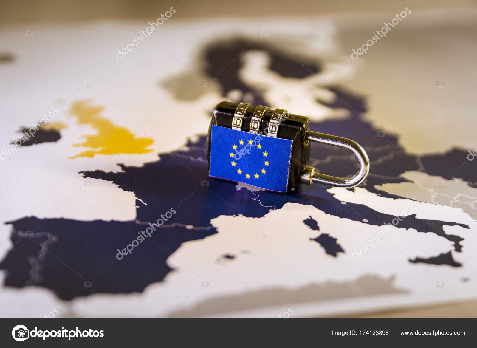 padlock over eu map gdpr metaphor stock photo tbtb 174123898
