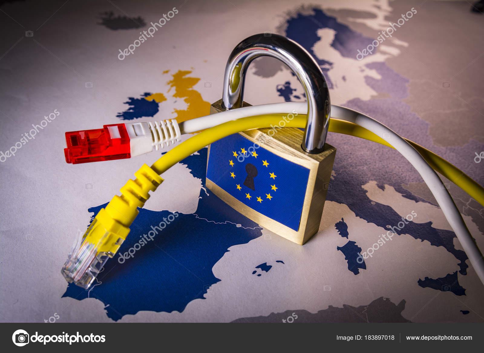 Über EU-Karte, DSGVO Metapher Vorhängeschloss — Stockfoto © tbtb ...
