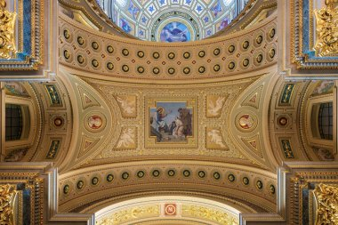 Decorated ceiling dome of Saint Stephens Basilica Budapest, Hungary