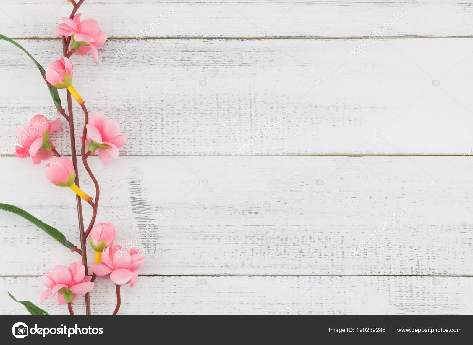 Fake Pink Flower Branches White Wood Background Copy Space Stock