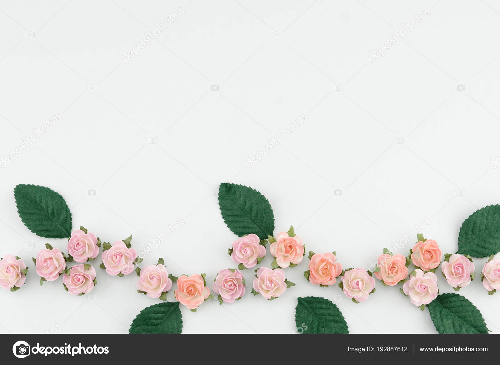 41ce995fbf1 Pink Paper Flowers Green Leaves White Background Copy Space — Stock Photo