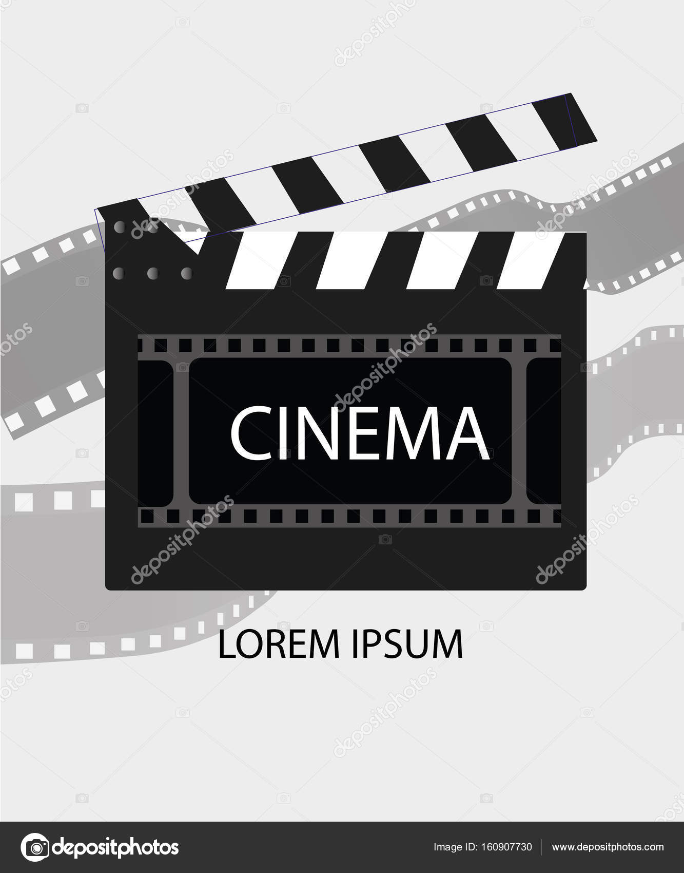 online cinema background with movie reel and clapper board. vector, Powerpoint templates