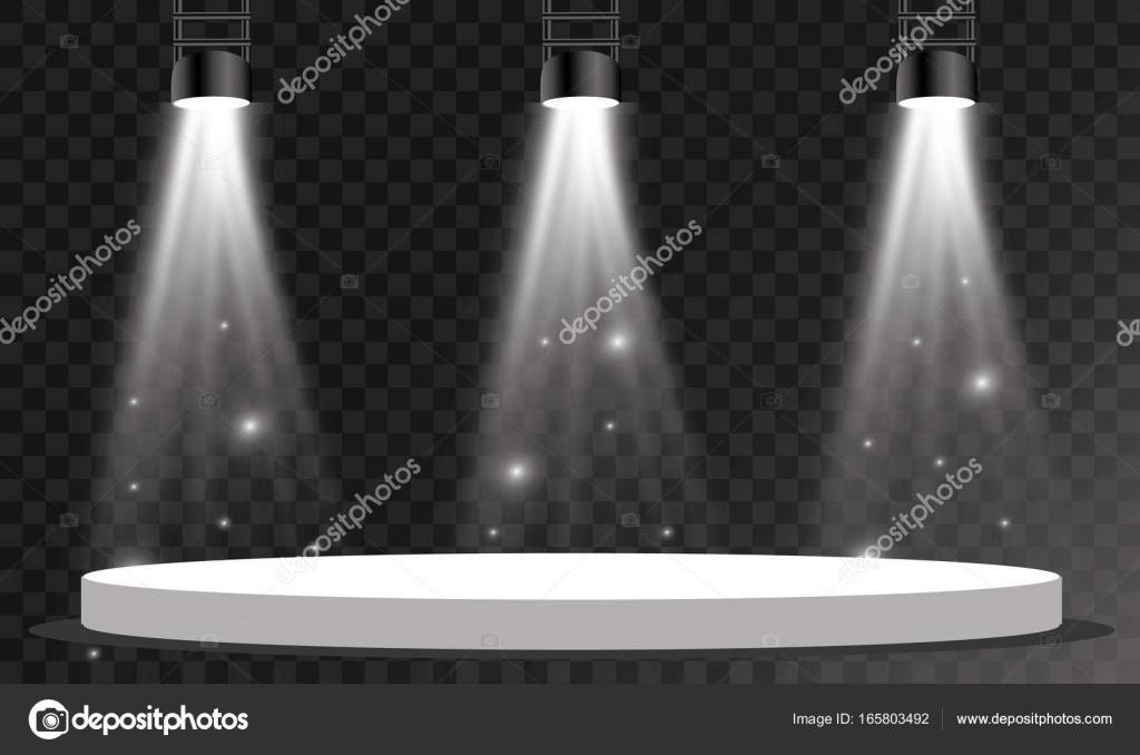 Vector Spotlights On Transparent Background Stage Lights Lamp