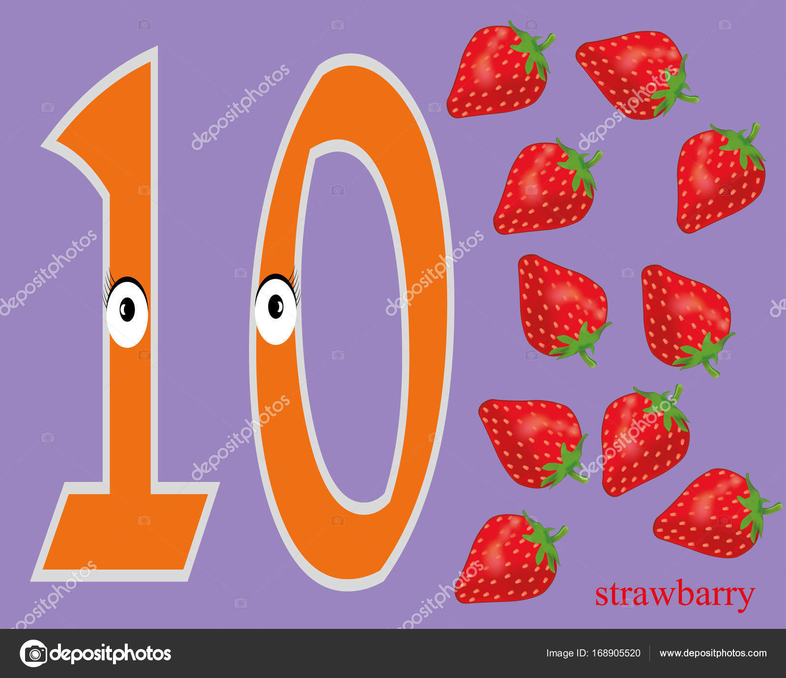 learn numbers and fruits worksheet for preschool stock vector