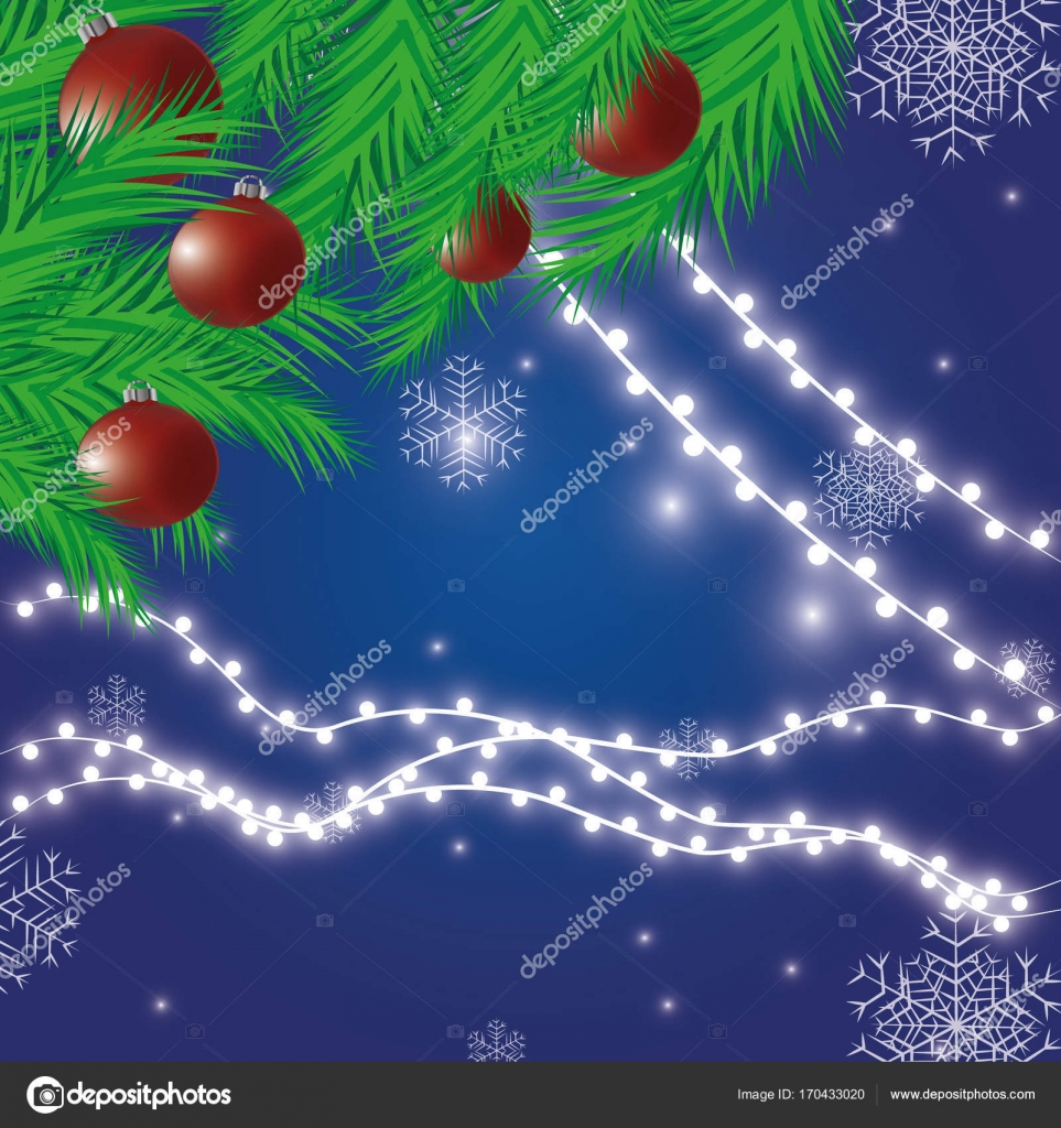 Christmas lights festive decorations. Glowing New Year's neon garland against the background of a frosty fog. Vector illustration– stock illustration