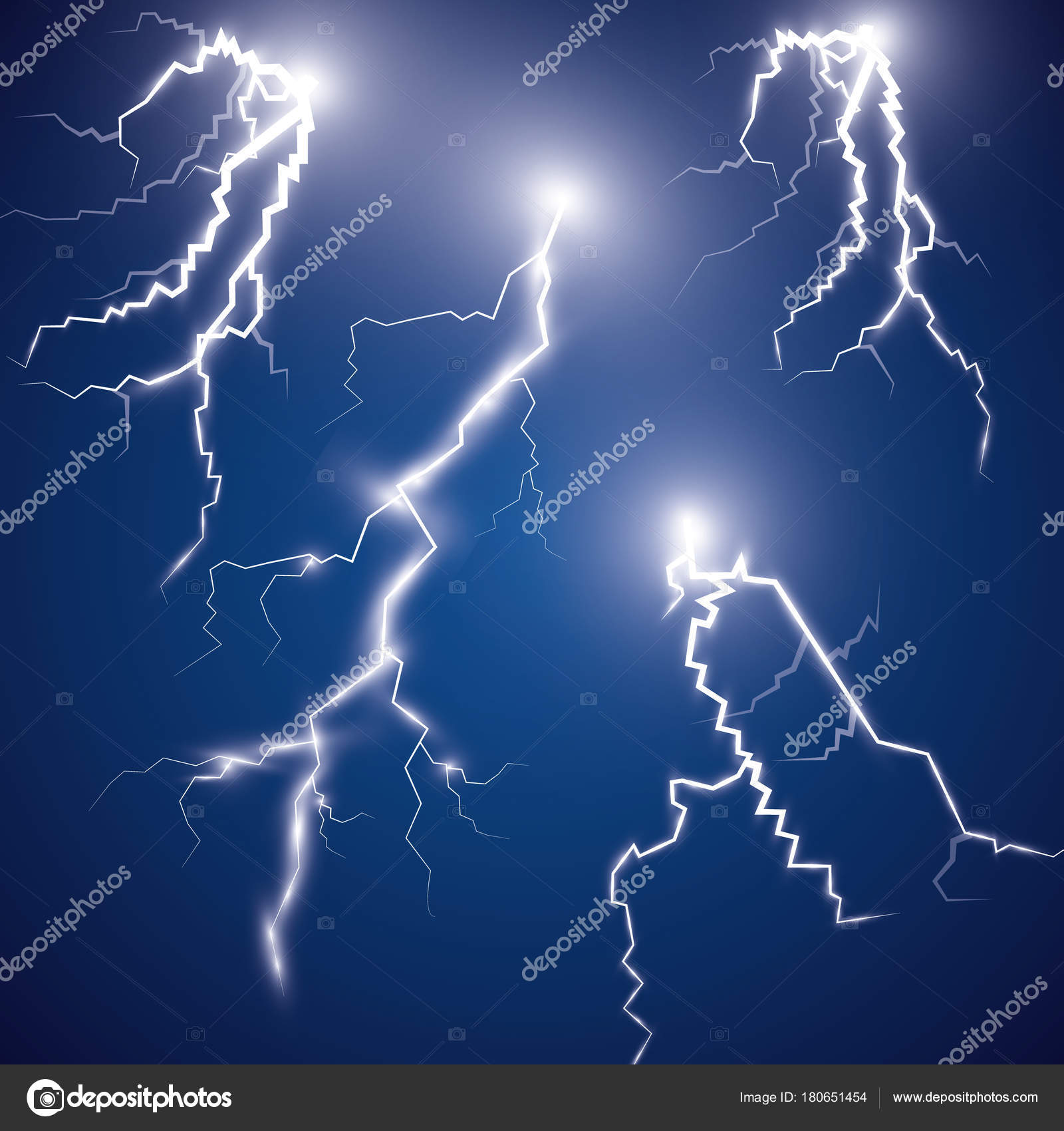 Vector Ilustration Effect Electric Lighting Thunder Lightning Dark Blue  Background U2014 Stock Vector