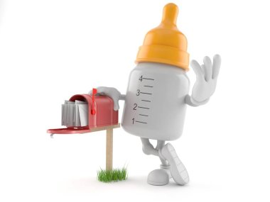 Baby bottle character with mailbox