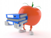 Tomatenfigur trägt Ringordner