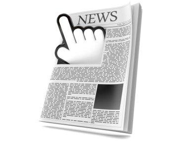 Web cursor with newspaper