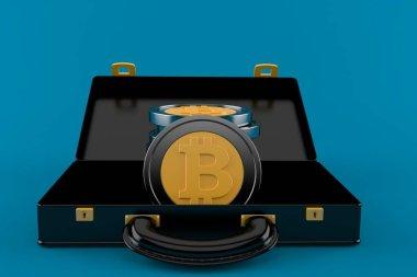 Bitcoins inside open briefcase
