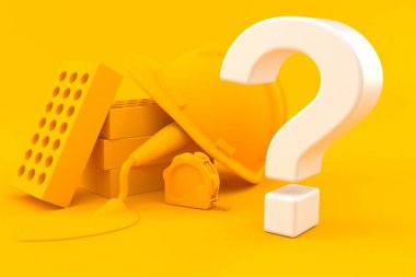 Masonry background with question mark
