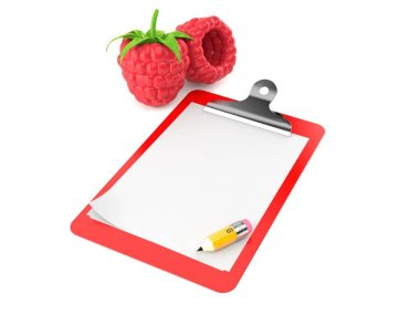 Raspberry with blank clipboard