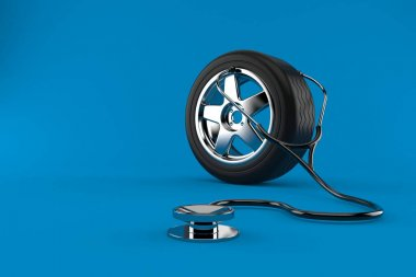Car wheel with stethoscope