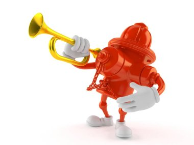 Hydrant character playing the trumpet