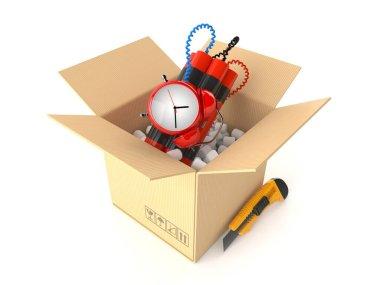 Time bomb inside cardboard box