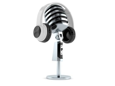 Microphone with headphones