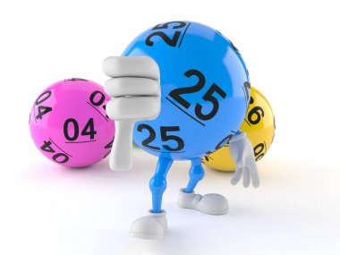 Lotto ball character with thumbs down gesture