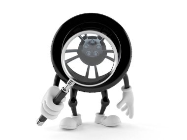 Car wheel character looking through magnifying glass