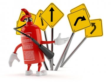 Fire extinguisher character confused with road signs