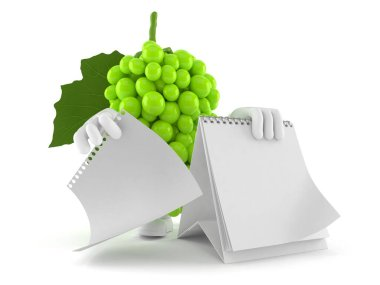Grapes character with blank calendar