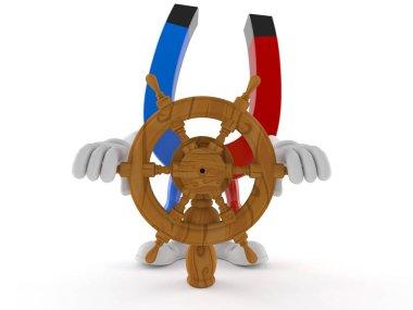 Horseshoe magnet character holding ship wheel