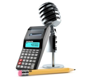 Microphone with calculator and pencil