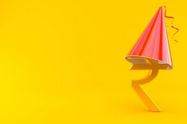 Rupee currency symbol with party hat isolated on orange background. 3d illustration