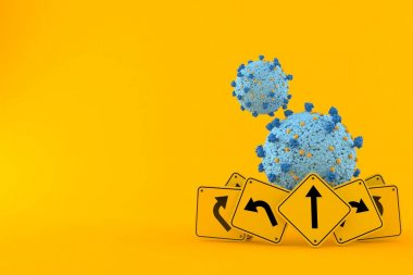 Virus with road signs isolated on orange background. 3d illustration