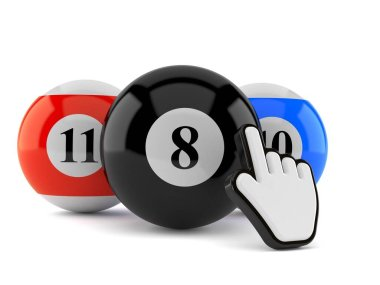 Pool balls with web cursor isolated on white background. 3d illustration