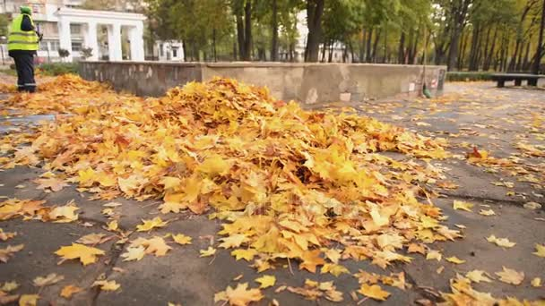 Ženské školník v uniformě zametání listí v parku, málo placené zaměstnání, krize