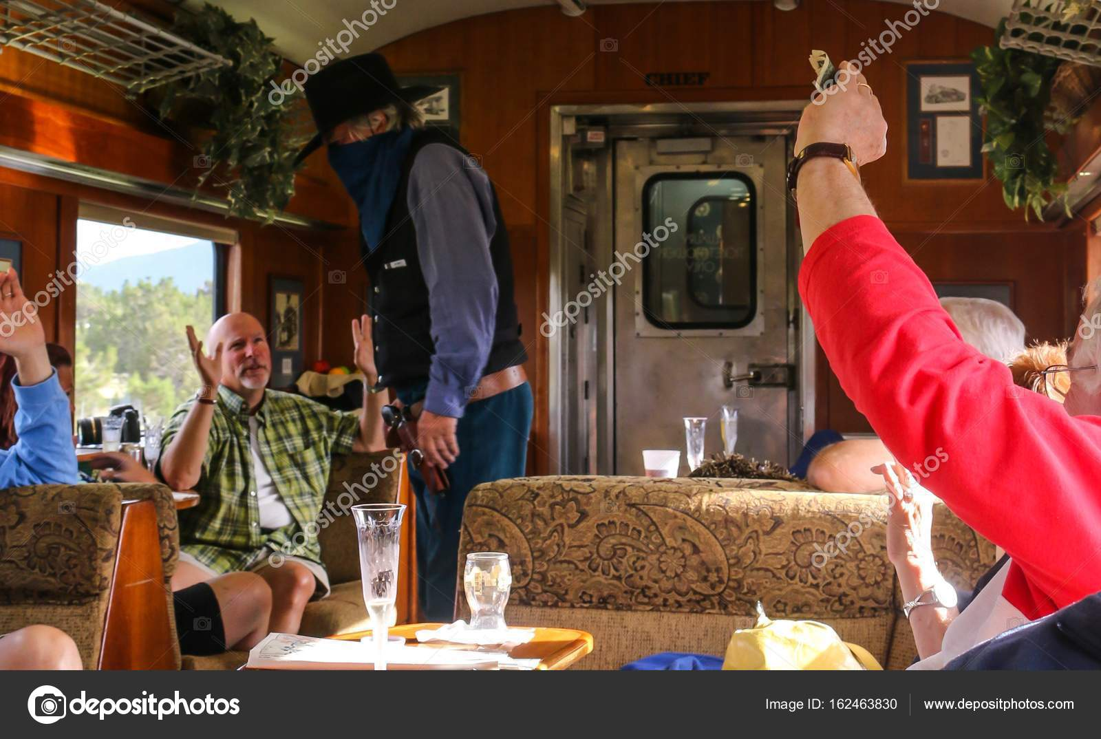 Cowboy robbery action in the train  – Stock Editorial Photo