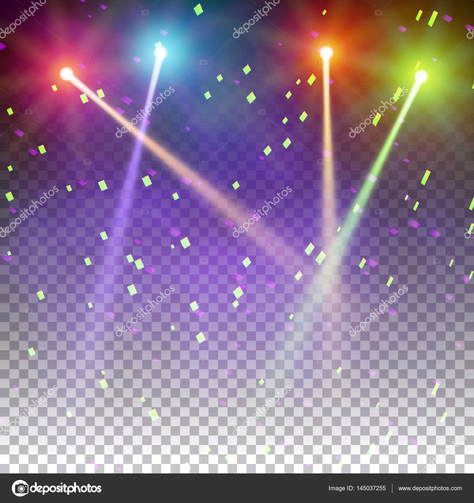 Special light effects. Realistic vector bright projectors for scene lighting isolated on plaid backdrop. & Special light effects. Realistic vector bright projectors for scene ...