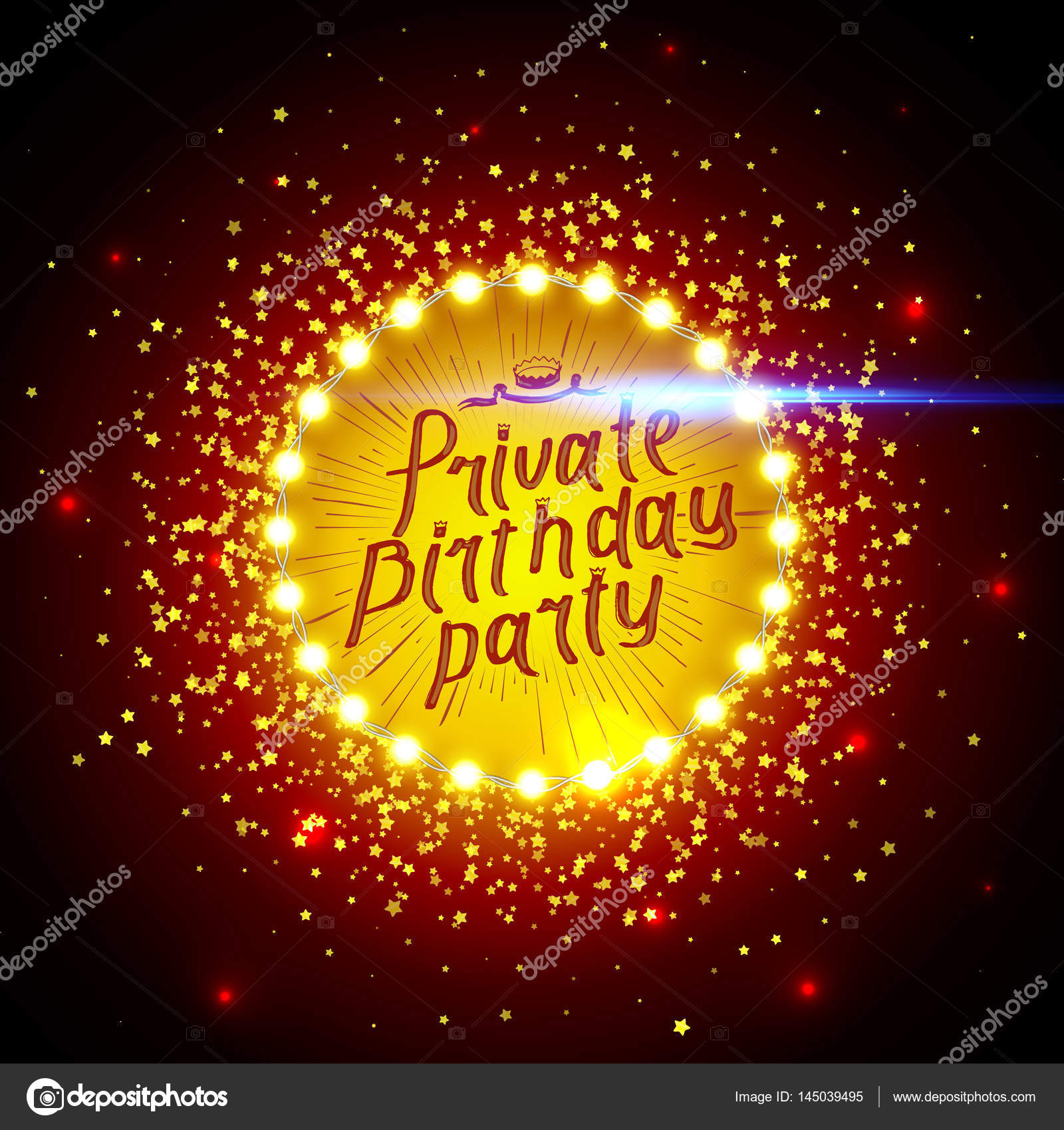 Private Birthday Party Brush Script Style Hand lettering. Glowing ...