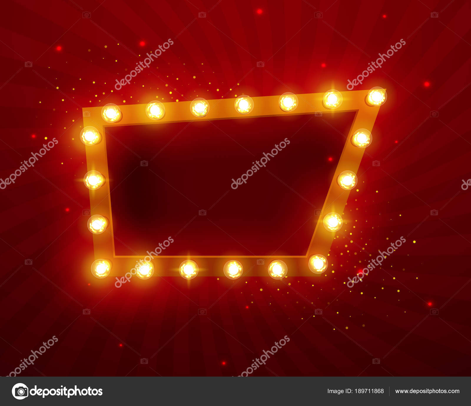 brillantes luces retro marco para diseño publicitario efectos