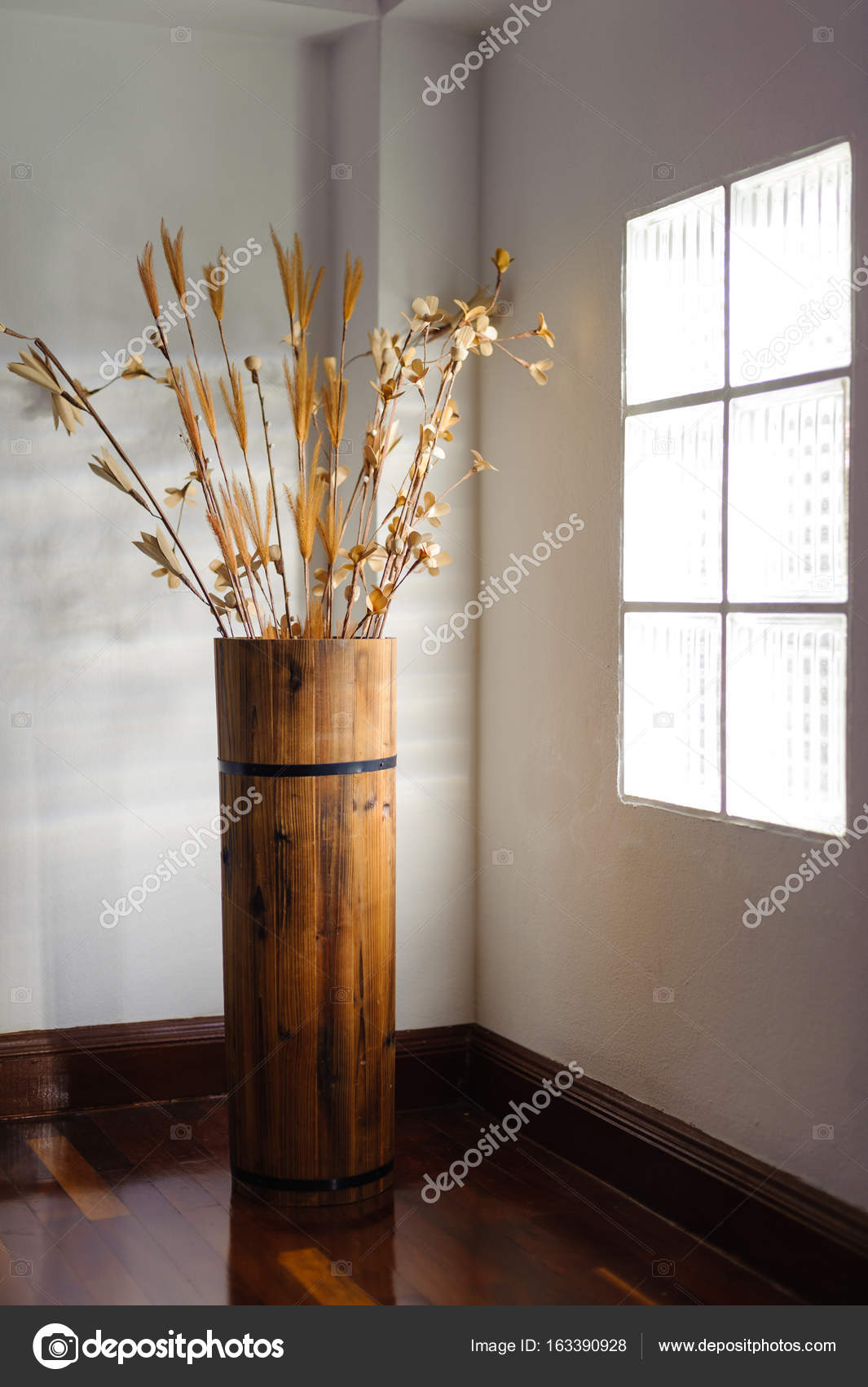 Artificial Flowers Tall Wooden Vase Stock Photo