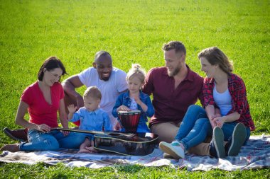 Family multiracial picnic with musical instruments